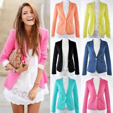 New Fashion Womens Candy Color Casual Slim One Button Tunic Suits Blazer Jacket