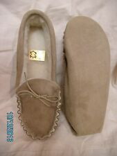Mens soft sole moccasin slipper size 6 7 8 9 10 11 wool lining