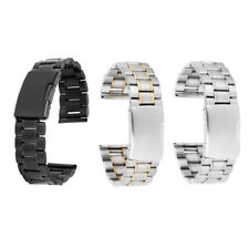 Stainless Steel Solid Links Watch Band Strap Bracelet Straight End 20mm 22mm