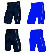 MENS NAVY /  BLUE COMPRESSION SHORTS GYM RUNNING SPORT BIKE TRAINING WHITE SKINS