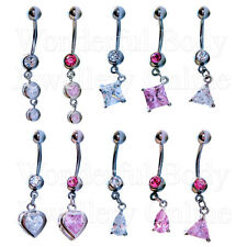 1x CZ Belly Navel Bar Teardrop Heart Circle Triangle Shaped Gems Jewel Body Ring