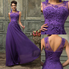 PRINCESS LACE BEADED Long Prom Dresses Evening Party Bridesmaid Formal Gown PLUS