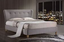 UPHOLSTERED PADDED FABRIC BED IN SKY BLUE OR GREY DOUBLE 4'6 or KING 5'