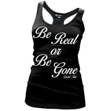 Women's Cartel Ink Be Real Or Be Gone Racer Back Tank Top Black No Fake