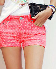 New Ladies Polka Dot Denim Hotpants Women Coral Casual Summer Shorts Size 8-10