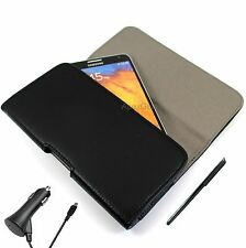 For Nokia Black Faux Leather Horizontal Pouch Belt Clip Cover Stylus Car Charger