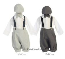 New Baby Toddlers Boys Grey Gray Silver Knickers Vintage Suit Outfit Christmas