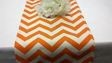 Chevron Orange and Natural zig zag Cotton Table Runner Wedding Baby Shower
