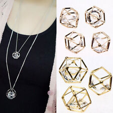 2/10Pcs Woman/Lady Hollow Out Cube Blinking Zircon Charm Pendant Chain Necklace