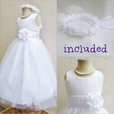Pretty White communion tulle wedding flower girl dress FREE HEADPIECE all sizes