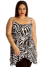 Womens Top Ladies Camisole Tank Swing Top Zebra Animal Print Plus Size Nouvelle