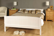 Double Bed in White 4ft6 Double Bed Wooden Frame WHITE