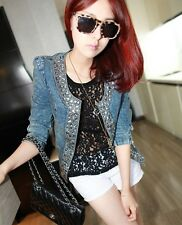 Girl Spring Stretch Denim Vintage Diamond Sequined Long-sleeved Denim Jacket