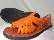 new WOMENS orange LEATHER MEXICAN SANDAL HUARACHE LADIES w/tire sole *ALL SIZES