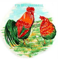 B77 ~ Red Rooster & Hen on Ceramic Decals, 3 sizes to choose from Chickens Green