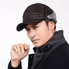 Black Fancy Men's Scrub Genuine Leather baseball Winter baseball Hat / Cap Cheap