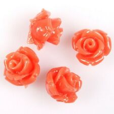 30/150pcs Various Colors Rose Flower Charms Faux Coral Loose Spacer Beads 10mm J
