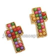 Gold Plated Colorful Acrylic Pearls Cross Alloy Charms Pendant Connector Lots J