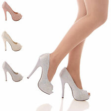 LADIES WOMENS HIGH HEEL PLATFORM STILETTO DIAMANTE PEEPTOE WEDDING SHOES SIZE