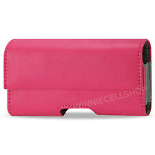 PINK Leather Sideways Belt Clip Case Pouch Holster for Cell Phones PLUS SIZE NEW