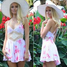 Lady Sleeveless Backless Mesh Romper V-neck Floral Bodycon Sexy Beach Jumpsuits