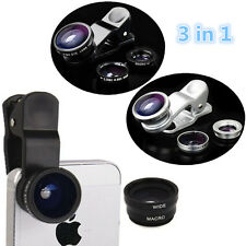 Macro Lens Camera+Fish eye+Wide Angle 3in1 Kit For ISO iPhone Android Universal