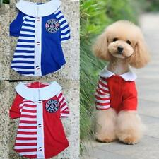 Cute Pet Dog Clothes Puppy Cat Coat T-Shirt Navy Stripe Lapel Shirt Apparel D20