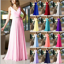 Stylish V-Neck A-line Floor-Length Bridesmaid Dress Long Evening Dress Size 6-18