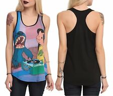 New Disney Lilo & Stitch Record Player Girls Racer Back Tank Top Juniors S-L