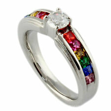 CZ Crystal Lesbian Pride Rainbow LGBT Ring Stainless Steel Gay Wedding Band