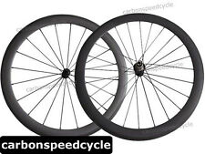 NEW Carbon Road Bicycle Wheel 50mm Clincher/Tubular Powerway R13 Hubs+424 Spokes