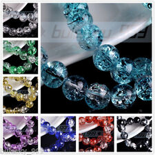 10mm Crackle Bead Loose Crystal Glass Round Ball Beads Cracked Inside Free Ship