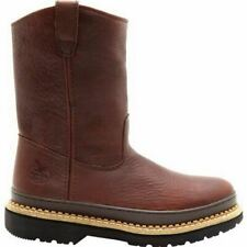 Georgia Mens Soggy Brown Leather Giant Wellington Pull On Work Boots G4274