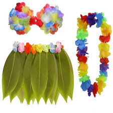 Ladies Hula Hawaiian Party Dress Up Set Leaf Skirt Lei Flowers Garland Bra Top