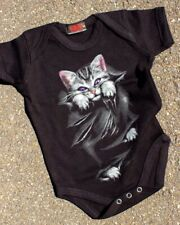 Spiral Clothing Bright Eyes Onesie Punk Gothic Black Baby Romper Gift Cat Purple