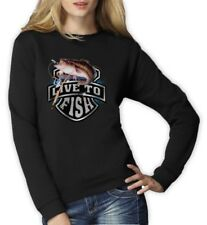 Bass Fishing Top Live To Fish Rod Reel Graphic Women Sweatshirt Small / Medium /