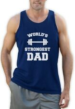 Fathers Day Gift Idea Worlds Strongest Dad Gym Tank Top Bodybuilder Mens Singlet