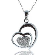 925 STERLING SILVER HEART PENDANT WITH CZ STONES AND CHAIN NECKLACE