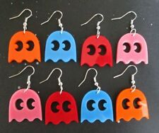 Classic Pac-Man Inspired Ghost Earrings in Pink Blue Red Orange Enemy Retro Game