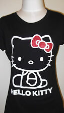 HELLO KITTY  Women's  Junior T-shirt Tee Sanrio M L Black RED Bow Glitter