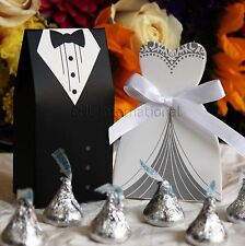 Groom Bridal Wedding Party Tuxedo & Dress Favor Gift Ribbon Candy Boxes
