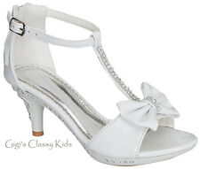 New Girls White T-Strap Rhinestone  Dress Heels Shoes Sandals Youth Kids Toddler
