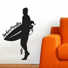 SURF, LARGE WALL STICKER, Sea, Silhouette, Surfer, Decal, WallArt SS729