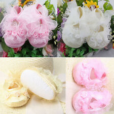 Non-Slip Newborn Infant Baby Toddler Lace Frilly Flower Shoes 2 Colors Girls