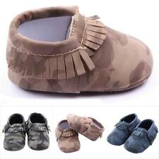 Cool Infant Girls Boys Camouflage Toddler Shoes Tassel Soft PU Leather Shoes A59