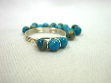 Blue Crazy Lace Agate .925 Sterling Silver Wire Wrapped Ring ~ Any Size Handmade