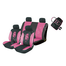 New 13 Piece Pink Dragon Car Seat Cover Set + Mats Steering Wheel Cover &More