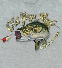 OLD GUYS RULE LIVIN LARGE BASS FISHING GREY POCKET TEE SHIRT