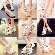 Women Boho Floral Flat Plarform Shoes Sandals Thong Slipper High Heel Slingbacks