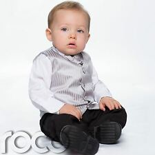 Baby Boys Silver & Black Waistcoat Suit, Page Boy Suits, Striped Waistcoat
